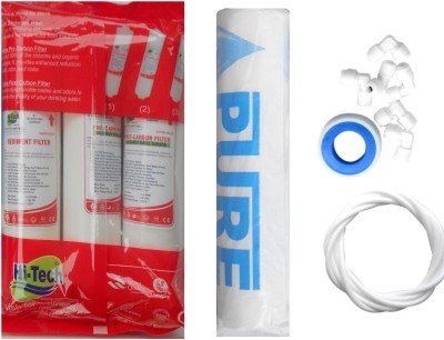 Hi-Tech 1 Year RO service Kit with Inline set, Pure Spun, Elbo and Teflon tape Solid Filter Cartridge(0.001, Pack of 7)