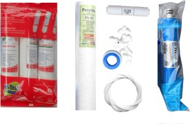 Hi-tech 1 Year RO Service Kit with Inline set, TFC micro (MCM) 80 GPD membrane, Spun and Other Accessories Solid Filter Cartridge(0.001, Pack of 9)
