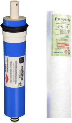 Purerite Spun with Filmtec DOW 75 GPD membrane for RO Service Solid Filter Cartridge(0.001, Pack of 2)
