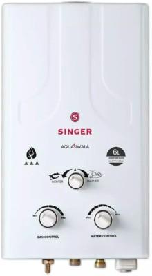 Singer 6 L Gas Water Geyser(White, aqua jwala gas 6litre)
