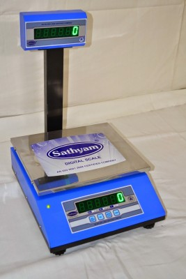 Sathyam Premium Table Top Pole Flat Pan 10kg/1g Weighing Scale