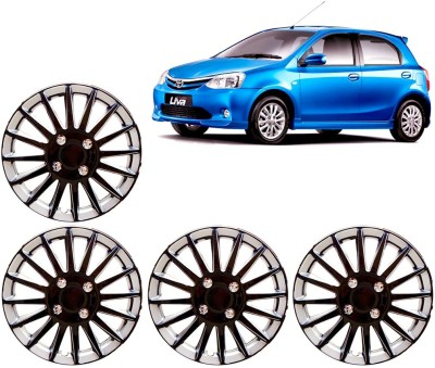 Auto Pearl Premium Quality Car Full Caps Black and Silver 14 Inches For - Toyota Etios Liva Wheel Cover For Toyota Etios Liva