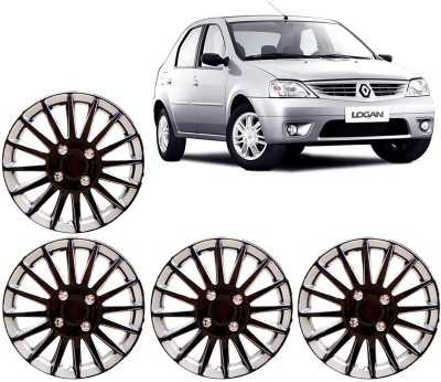 Auto Pearl Premium Quality Car Full Caps Black and Silver 14 Inches For - Renault Logan Wheel Cover For Renault Logan