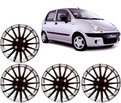Auto Pearl Premium Quality Car Full Caps Black and Silver 13 Inches For - Daewoo Matiz Wheel Cover For Daewoo Matiz