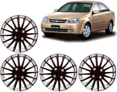 Auto Pearl Premium Quality Car Full Caps Black and Silver 14 Inches For - Chevrolet Optra Wheel Cover For Chevrolet Optra