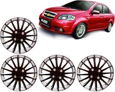 Auto Pearl Premium Quality Car Full Caps Black and Silver 14 Inches For - Chevrolet Aveo Wheel Cover For Chevrolet Aveo