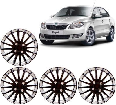 Auto Pearl Premium Quality Car Full Caps Black and Silver 14 Inches For - Skoda Rapid Wheel Cover For Skoda Rapid