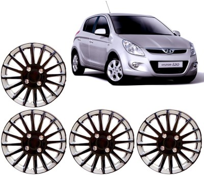 Auto Pearl Premium Quality Car Full Caps Black and Silver 14 Inches For - Hyundai I20 Wheel Cover For Hyundai i20