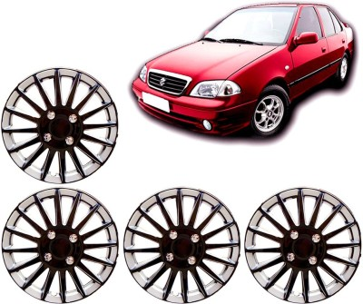 Auto Pearl Premium Quality Car Full Caps Black and Silver 13 Inches For - Maruti Suzuki Esteem Wheel Cover For Maruti Esteem