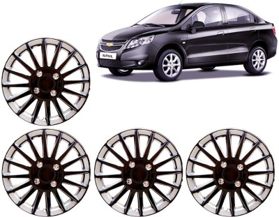 Auto Pearl Premium Quality Car Full Caps Black and Silver 13 Inches For - Chevrolet Sail Wheel Cover For Chevrolet Sail