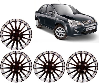 Auto Pearl Premium Quality Car Full Caps Black and Silver 14 Inches For - Ford Fiesta Classic Wheel Cover For Ford Fiesta