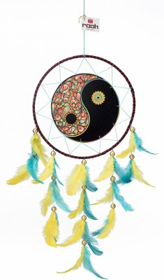 Rooh dream catcher Canvas Yin Yang Wool Windchime(20 inch, Blue)