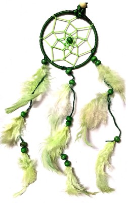Prakki Dream Catcher Wooden, Wool Windchime(6 inch, Green)