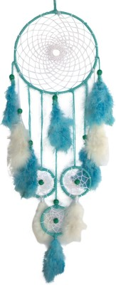 Paperiva Dream Catcher Wool Windchime(25 inch, White, Blue)