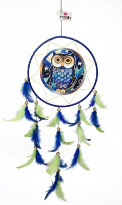 Rooh dream catcher Canvas Owl Wool Windchime(20 inch, Blue, Green)