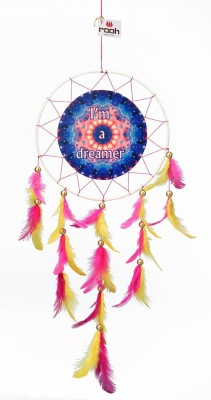 Rooh dream catcher Canvas I,m a dreamer Wool Windchime(20 inch, Yellow, Pink, Blue)