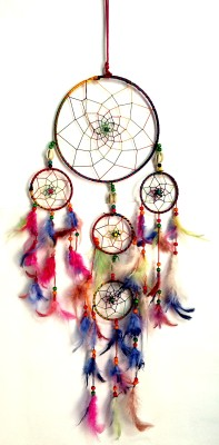 Varanasi Enterprises Multicolor Dream Catcher Wall Hanging Wool Windchime