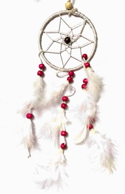 Prakki dream catcher Wool, Wooden Windchime(6 inch, White)
