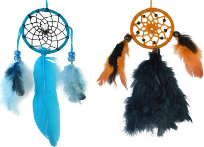 Paperiva Dream Catcher Wool Windchime(7 inch, Blue, Brown)