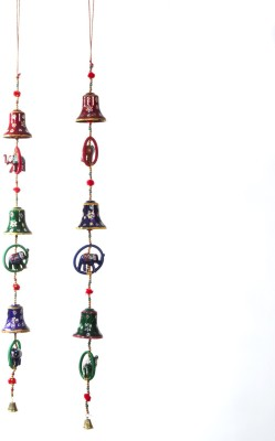 Smile2u Retailers Rajasthani art worked hanging windchimes Plastic, Microfibre Windchime(30 inch, Multicolor)