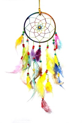 Varanasi Enterprises Multicolored Dream Catcher Wall Hanging - Attract Positive Dreams Wool Windchime