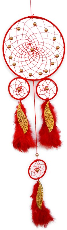 Paperiva Dream Catcher Wool Windchime(20 inch, Red)