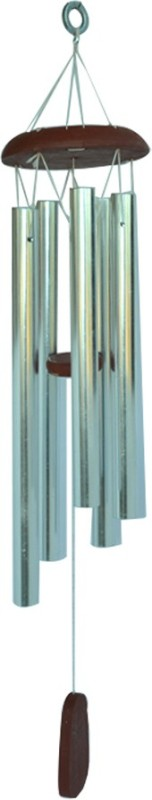 Kriti Creations Five Rod Negativity Controlling Aluminium Windchime(28 inch, Silver)