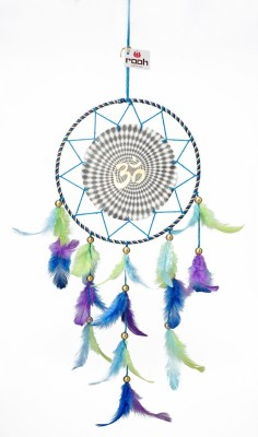 Rooh dream catcher Canvas Om 3D Wool Windchime(20 inch, Blue)