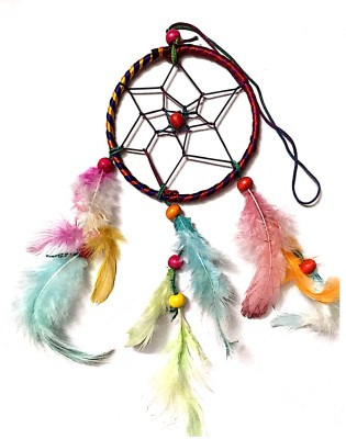 Prakki Dream Catcher Wooden, Wool Windchime(6 inch, Multicolor)