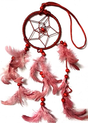 Prakki Dream Catcher Wooden, Wool Windchime(6 inch, Red)
