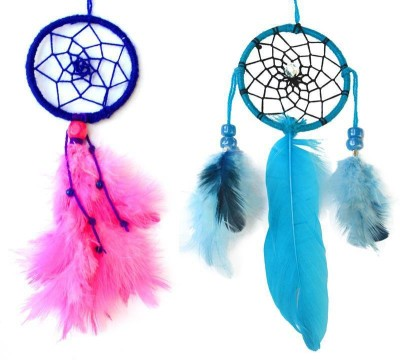 Paperiva Dream Catcher Wool Windchime(7 inch, Pink, Blue)