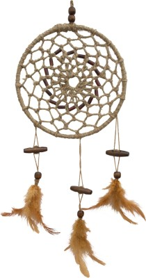 Paperiva Dream Catcher Wool Windchime(18 inch, Brown)