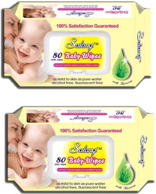 Salang Baby Wipes Aloveera 80Pcs(Pack of 2)