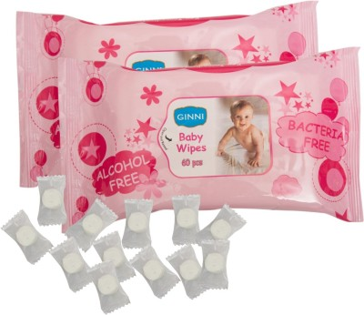 GINNI GINNI Soft Baby Wipe (pack of 2) (60 wipes per pack) with Coin Tissue (50 pieces in candy pack)