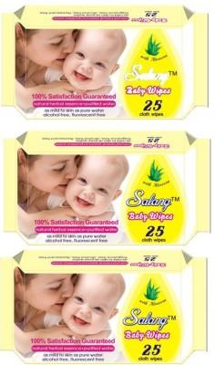 Salang Aloveera Baby Wipes 25Pcs(Pack of 3)