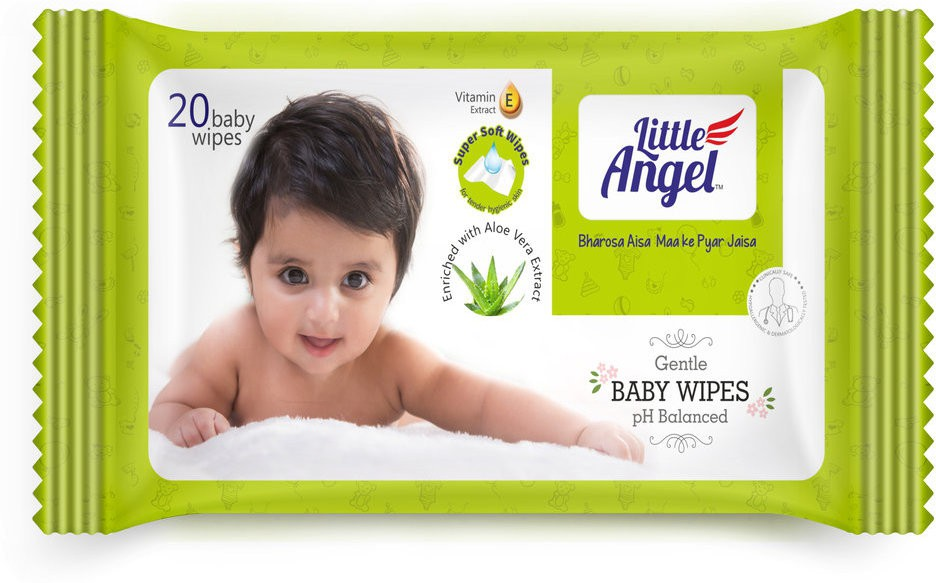 LITTLE ANGEL Gentle Baby Wipes Pack of 4(20 Pieces)