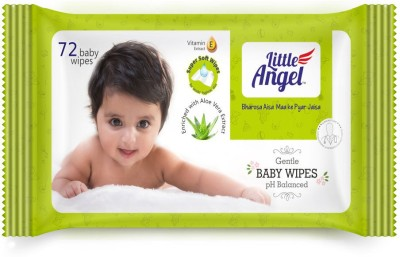 LITTLE ANGEL Gentle Baby Wipes Pack of 2(72 Pieces)
