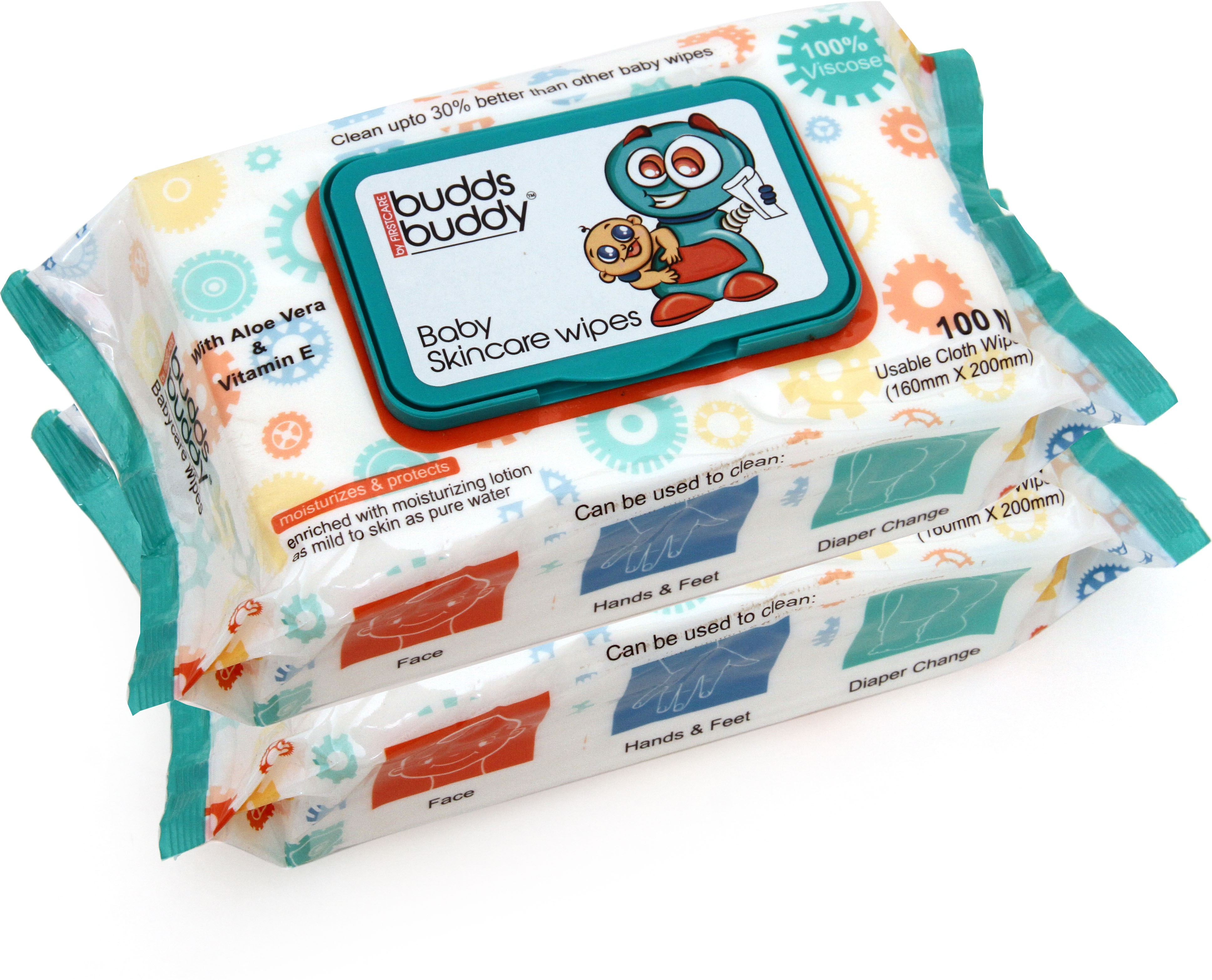 Buddsbuddy 2 Baby Skincare Wet Wipes - 100pcs pack Each(2 Pieces)