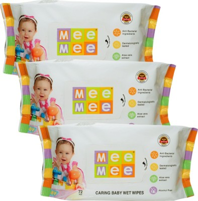 Mee Mee Caring Baby Wet Wipes with Aloe Vera (72 pcs) (Pack of 3)