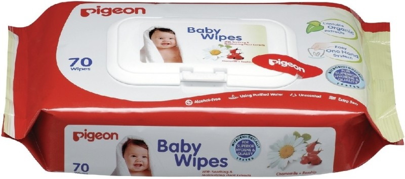 Pigeon Baby Wipes Chamomile and Rosehip(70 Pieces)