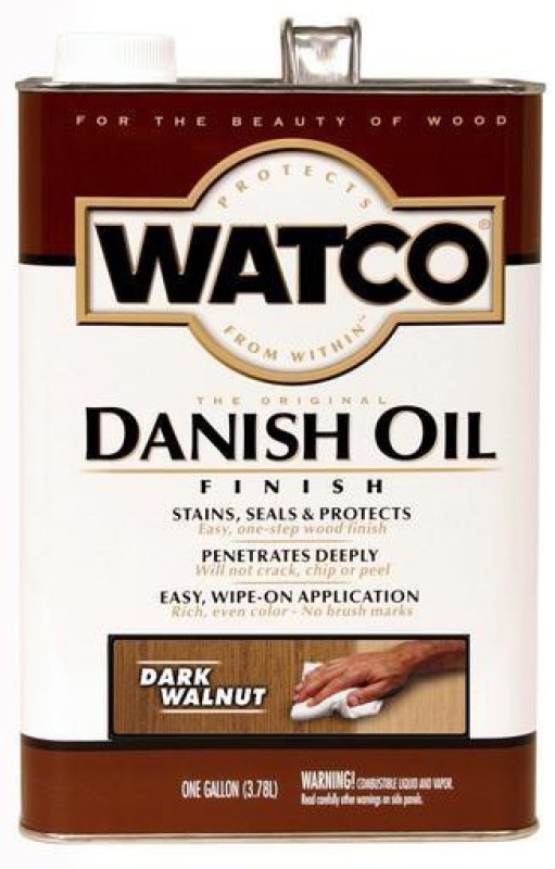 WATCO 65831 Dark Walnut, Danish Oil Wood Varnish(Drying Oils 3.78 L)