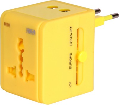 GM ATLAS universal multi plug Adaptor with USB Charger-Yellow Worldwide Adaptor