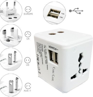 Care Case White Max Good Quality With 2 Usb Adapter International Universal Travel Worldwide Adaptor