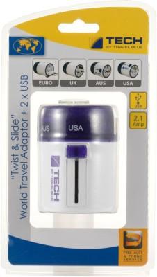 Travel Blue Twist & Slide with Dual USB Charger Worldwide Adaptor(Purple)