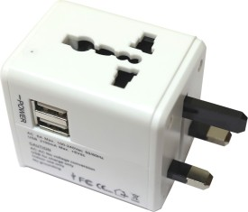 LEOTECH UNIVERSAL TRAVEL ADAPTOR WITH USB WHITE Worldwide Adaptor(White)