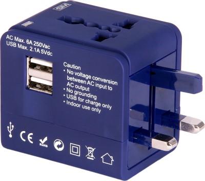 GM ATLAS universal multi plug Adaptor with USB Charger-Blue Worldwide Adaptor
