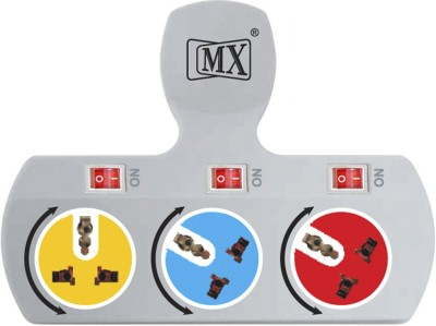 MX 3 Way 3 Way Strip Rotatable Sockets & Individual Switch Worldwide Adaptor