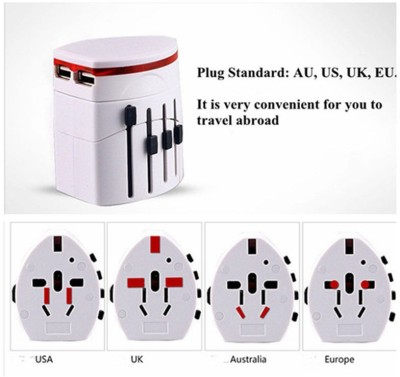 CHKOKKO Universal Global Travel AC UK / EU / US / AU Plug Power Adapter Dual USB Convers Worldwide Adaptor