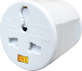 MX Universal Pocket Travel Power Charger Multi-Plug, AU/EU/UK/US/CN Worldwide Adaptor(White)