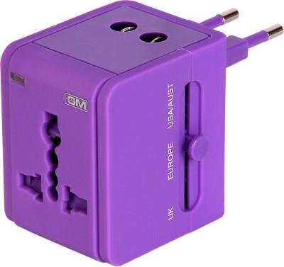 GM ATLAS universal mutiplug Adaptor with USB Charger-Purple Worldwide Adaptor